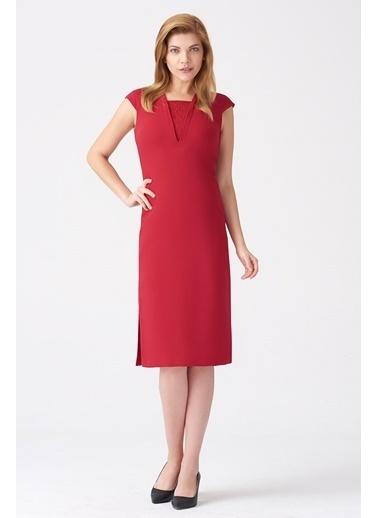 NaraMaxx V Yaka Kep Kol Elbise Kırmızı